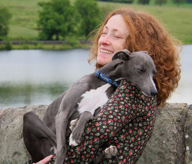 Lucy and her blue whippet 'Betsy'
