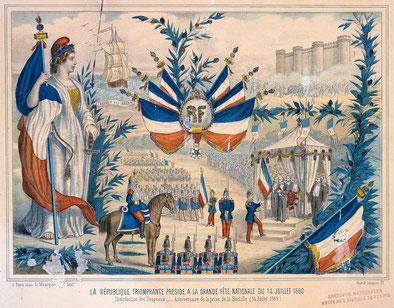 La République triomphante préside à la grande Fête Nationale du 14 juillet 1880.