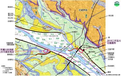 図2 二子玉川付近の地形(国土地理院「治水地形分類図」に基づく)