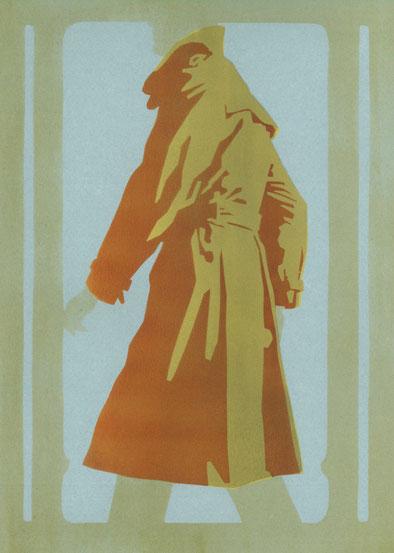 Mantelformen, Mantel Lexikon: Zeichnung eines Trenchcoats mit Beschriftung der Merkmale
