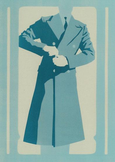Mantelformen, Mantel Lexikon: Zeichnung eines Guards Coats  mit Beschriftung der Merkmale