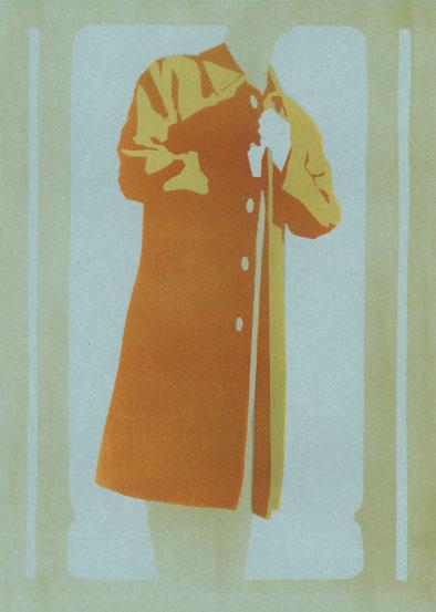 Mantelformen, Mantel Lexikon: Zeichnung eines schlichten Sommer- bzw. Regenmantels oder Stadtmantels mit Beschriftung der Details