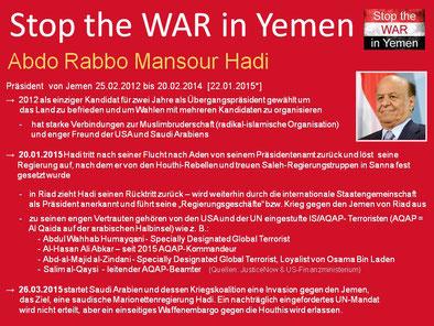 Die Regierung von Mansour Hadi - vom Volk auf max. 2 Jahre bis Februar 2014 legitimiert