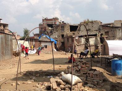Nepal Bhaktapur Erdbeben-Schäden