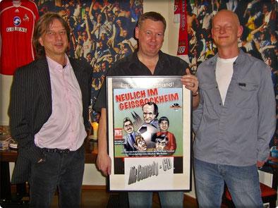 Frank Steffan (Verlagsleiter), Ralf Friedrichs und Arnold Kaup (Leiter Tonstudio) bei der Präsentation