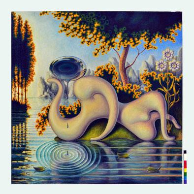 Las lagrimas de Narciso. Guillermo Pérez Villalta. Temple Vinílico sobre lienzo. Colección privada del autor. Tarifa
