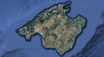 Isla de Mallorca (Baleares). Imagen de Google Maps.