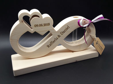 Hochzeitsgeschenke aus Holz mit Namen und Datum