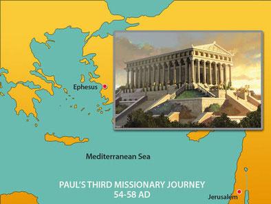 Ephese est une ancienne cité grecque située à l'ouest de l'actuelle Turquie berceau du christianisme première église citée par l'apôtre Jean