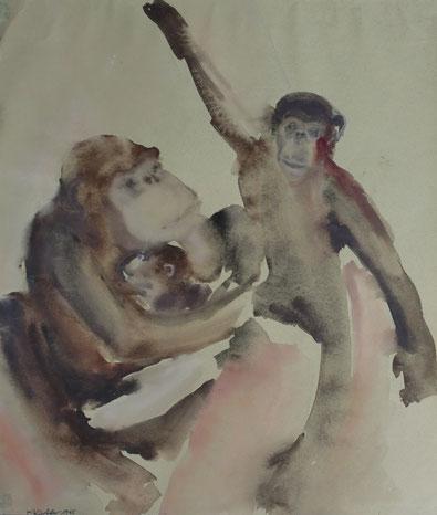 Bild 13 + 14, Aquarelle im Passepartout, 50x60 cm