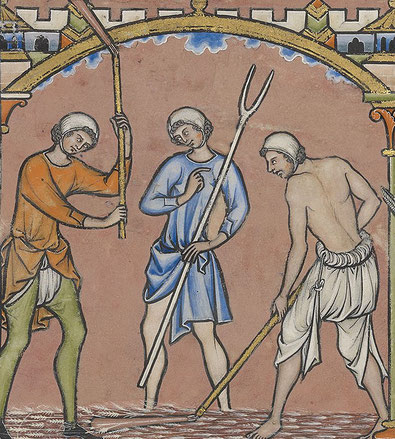 Das Bild stammt aus der Kreuzfahrerbibel und zeigt 3 Männer bei der Feldarbeit. Auf der Illustration ist gut deren Bekleidung zu erkennen.