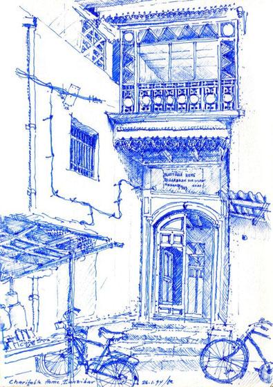 Charitable home, Zanzibar 1994 (Filzstift)