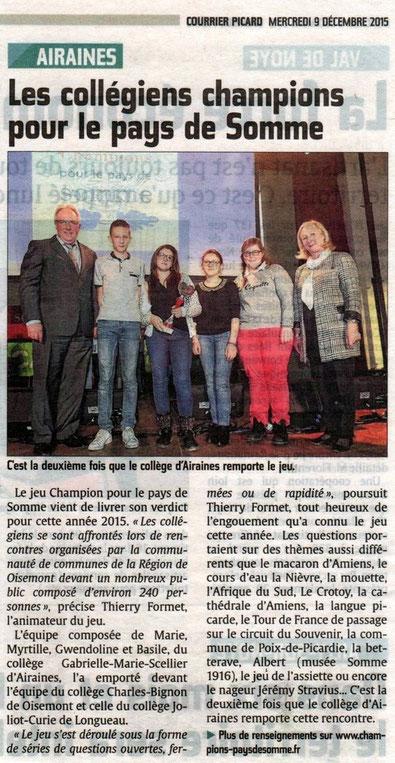 Finale de Oisemont - Article du Courrier Picard - Décembre 2015