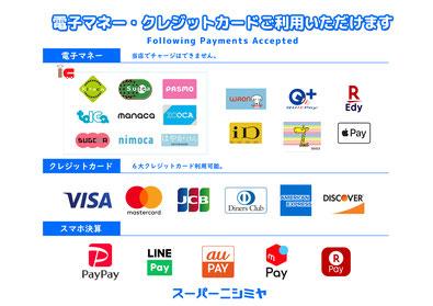 ピアカイフ ピア海部 スーパーニシミヤ 電子マネー・クレジットカード キャッシュレス一覧