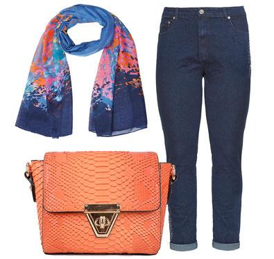 orange Schlangenleder Imitation Handtasche , Boyfriend-Jeans