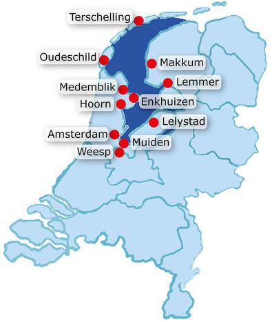 Karte vom Ijsselmeer mit den möglichen Häfen