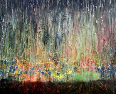 Rain / Mixed media over MDF / 38x49 inches