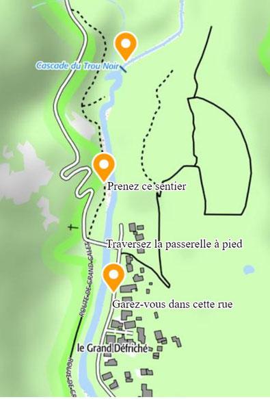 - Accès cascade du Trou Noir - Geoportail.gouv.fr -