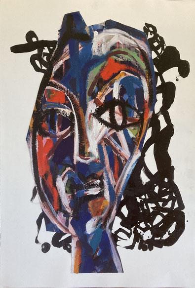 Femme à la chevelure 100/70cm - Acrylique/encre papier