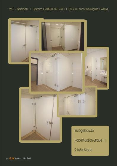 Glastrennwände, Trennwände, WC-Trennwände, Schränke . Umkleidekabinen, Glassysteme, GSK Worm GmbH