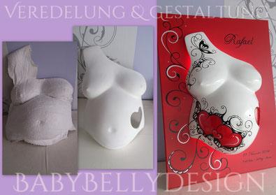 Der Gipsabdruck vom Babybauch / Überarbeitete Gipsabdrücke / Babybauchabdrücke (Bauchabdruck / Gipsbindenabdruck / Schwanger Gipsabdruck) Oberfflächenglättung, Oberflächenveredelung, Gestaltung