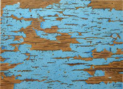Dessin crayons de couleur gros plan peinture écaillée sur mur. Turquoise et brun