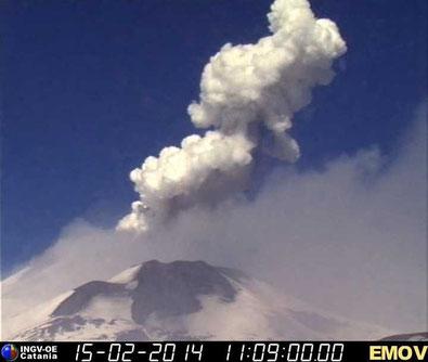 L'esplosione delle 12:08 locali, ripresa dalla telecamera di sorveglianza dell'INGV-OE, posta sulla Montagnola