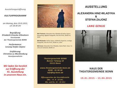 Haus der Theatergemeinde Bonn / lang genug - Ausstellung mit Gedichte-Lesung / Einführung: Christina zu Mecklenburg,  Bonn, 2015