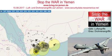 Interaktive Karte - US-Drohnenkrieg  - Stand 15.08.2017