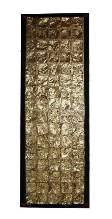 Partition, symphonie ou requiem.  Technique mixte sur toile, 46 x 138 cm