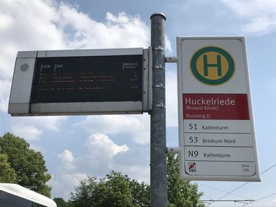 Bushaltestelle Buslinie 53 in Bremen-Huckelriede