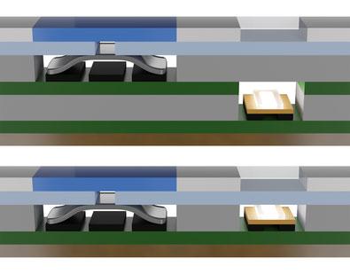 Folientastaturen mit Schnappscheiben und LEDs + Folientastaturen mit Schnappscheiben und-LEDs auf einer Ebene