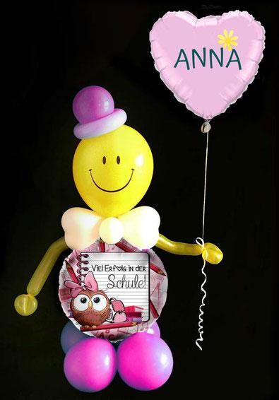 Luftballon Ballon Heliumballon Herzballon Herz Folienballon Männchen Smiley witzig Viel Erfolg in der Schule Schulbeginn Anfang Schulanfang 1. Klasse ABC-Schütze Schulbeginn Versand verschicken Mitbringsel Gruß Geschenk Idee  Überraschung Junge Mädchen