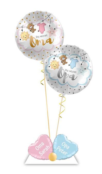 Ballon Luftballon Heliumballon Deko Teddy Bär Überraschung Mitbringsel Ballonpost Ballongruß Versand verschicken Helium Baby Idee du wirst Oma Opa mit Namen  Personalisierung Geschenk Ballonpost Großeltern schwanger Schwangerschaft Geburt