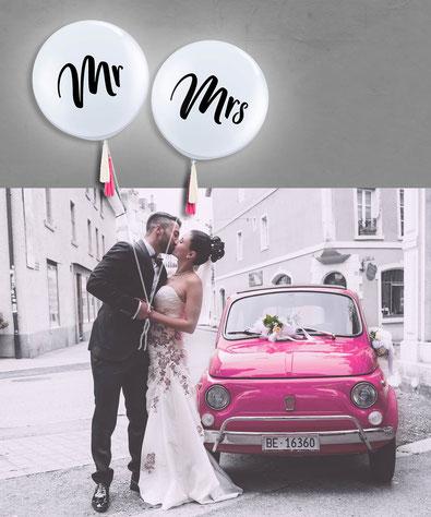 Hochzeit Mr Mrs Tasseln Heliumballon Ballon Luftballon Riesenballon XXL Latexballon Wedding Vintage Helium