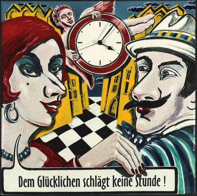 Emaille  Uhr  - Dem Glücklichen schlägt keine Stunde -