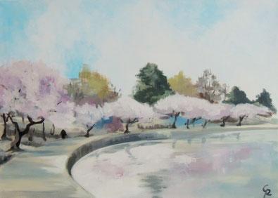 Galambos Rita - Japanische Kirschbäume  Rita Galambos freischaffende Künstlerin Malerin Designerin Painter Designer Artist Vorarlberg Malerei