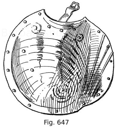 Fig. 647. Streiftartsche für den Schutz der Oberschenkel beim Rennen. Ende 15. Jahrhundert.