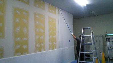 さいたま市の工場、ジョイントボード目地処理・塗装工事の様子