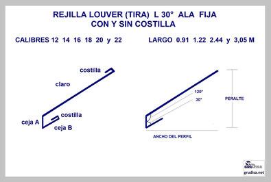 REJILLA LOUVER (TIRA) L 30° CON y SIN COSTILLA GruDisA