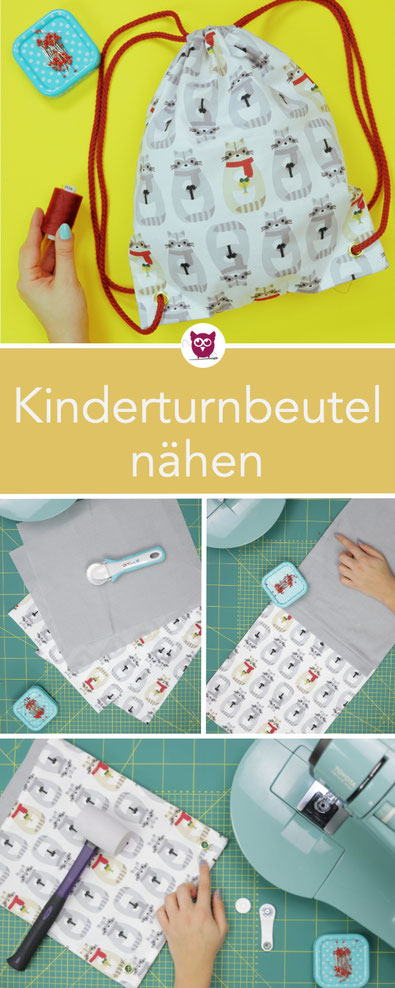Turnbeutel für Kinder nähen – kostenlose Nähanleitung als Freebie. Sehr einfach und schnell zu nähen mit Tunnelzug und Kordel. Perfekt für Anfänger. Stoff mit kleinen Waschbären. Nähanleitung von DIY Eule.