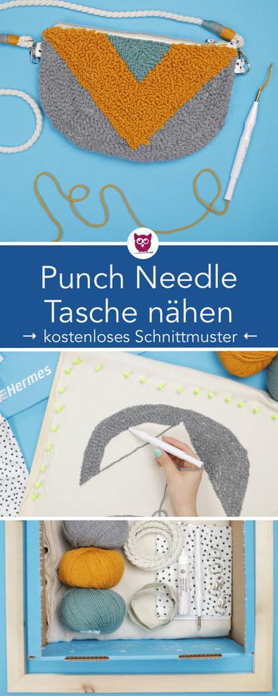 [Werbung] Punch Needle Tasche mit Ethno-Muster nähen inkl. kostenlosem Schnittmuster. Rug Hooking Technik / Punch Needling als Handtasche oder Kosmetiktasche. Nähanleitung  von DIY Eule.