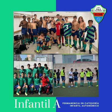 Plantilla Infantil A C.D. Pablo Iglesias celebrando la victoria tras un encuentro esta temporada 2019-2020 en Elche