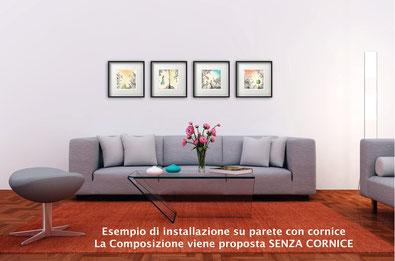 Esempio di installazione su parete con cornice...