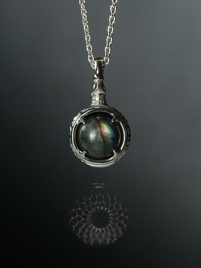 A dragon's jewel NUBUSHI-TAMA that prays at Okinawa's Utaki. Labradorite  Power Stone Pendant Necklace