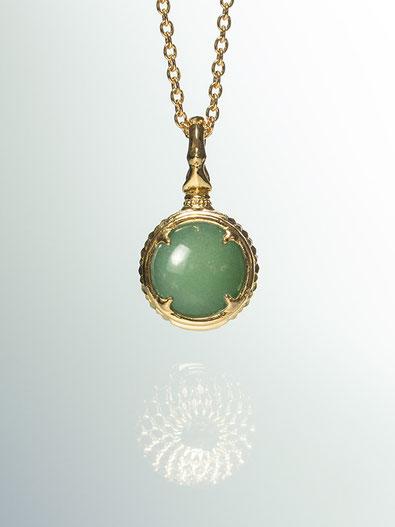A dragon's jewel NUBUSHI-TAMA that prays at Okinawa's Utaki. Aventurine Power Stone Pendant Necklace