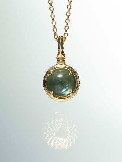 A dragon's jewel NUBUSHI-TAMA that prays at Okinawa's Utaki. Blue Fluorite Power Stone Pendant Necklace