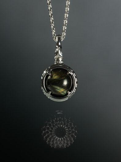 A dragon's jewel NUBUSHI-TAMA that prays at Okinawa's Utaki. Hawks eye Power Stone Pendant Necklace