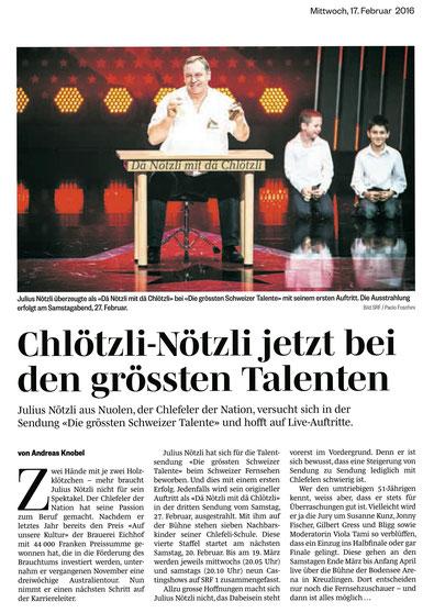 Julius Nötzli Die grössten Schweizer Talente Chlefele ON