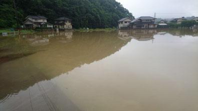 7月7日午前中はまだ、浸水のまま水がひいてみません。